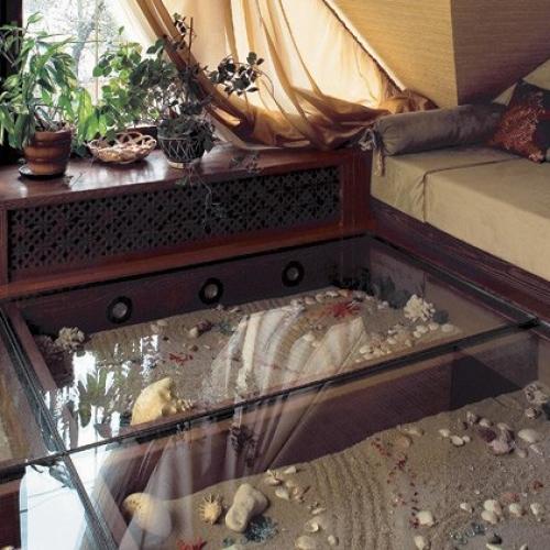 Стеклянный пол как элемент интерьера!